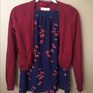 Anthropologie Red Cardigan